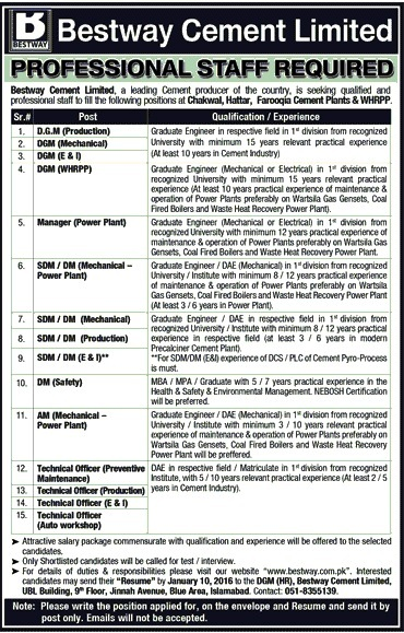 Bestway Cement Limited Jobs / Careers Pakistan 2016 Latest Advertisement