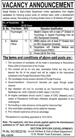 Medical Officer And Psychologist Required – Lahore