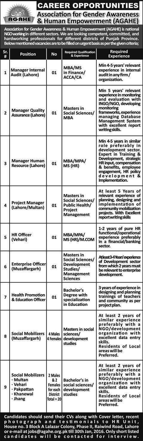 AGAHE Jobs - Career Opportunities - Lahore