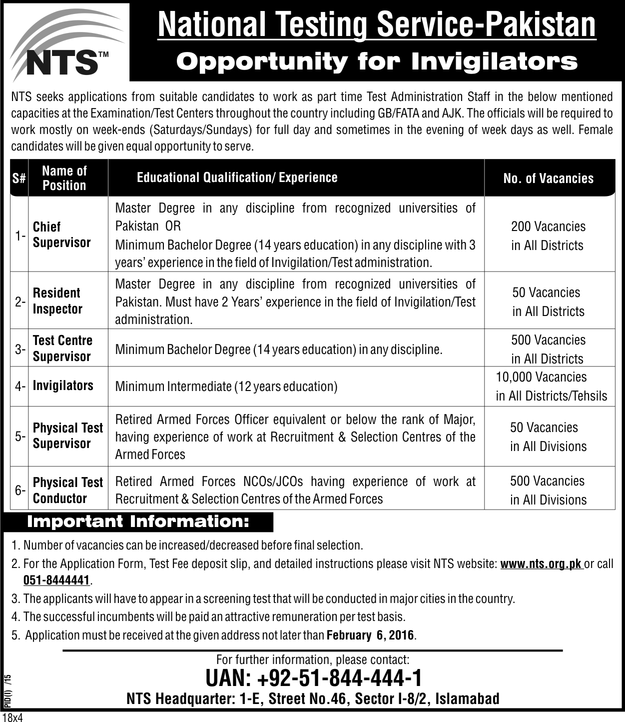 Invigilators jobs - 11000+ NTS 2016 Jobs